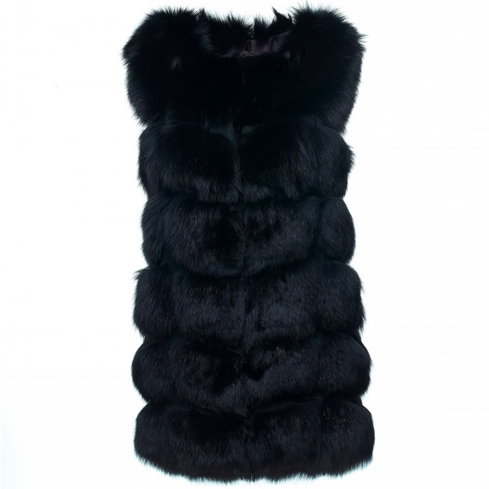 Foxfur gilet vest black long Realfur Winterjacket