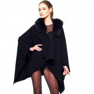 Real Fur Woman Poncho Cape black
