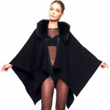 Woman Poncho with Fur in Black Winterjacket