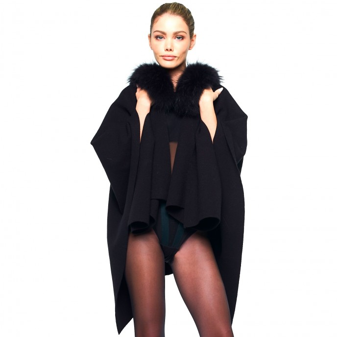 Cape Poncho black long Real Fur