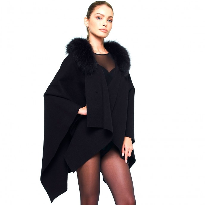 Cape Winterjacket Poncho Wintercoat black Fur