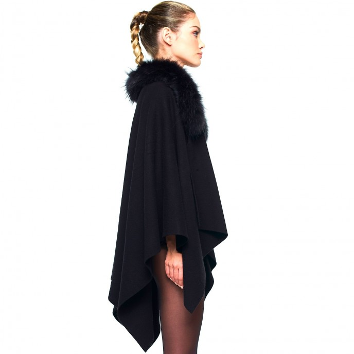 Woman Cape Poncho Winter warm black Fur hood