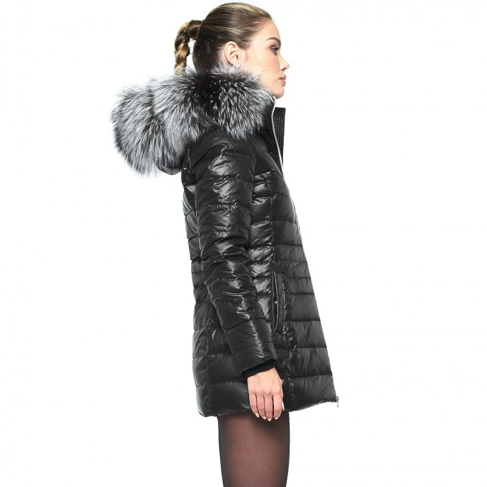 Long fur hooded down jacket Silver Edition