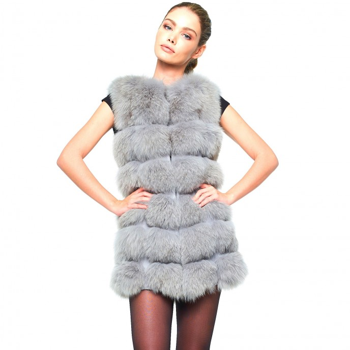 Fox Fur Gilet Realfur Grey Winterjacket