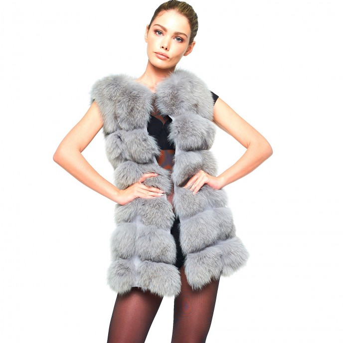 Realfur Grey Winterjacket Foxfur