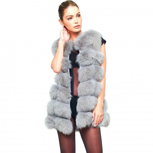 Fox Furvest Realfur Grey Winterjacket