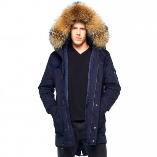 Mens coat with fur hood 2