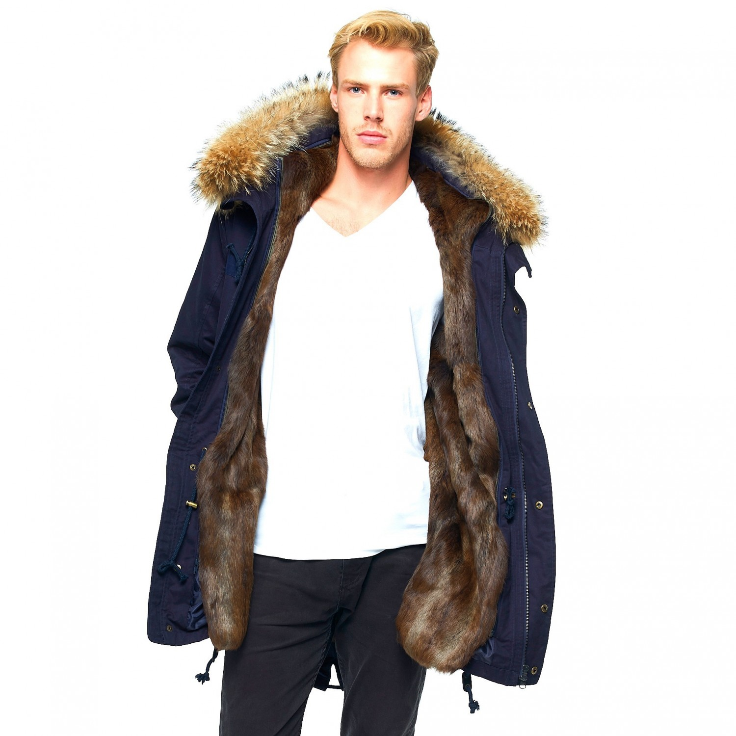 e367b8b7881f Mens Fur Lined Coat with XXL Fur