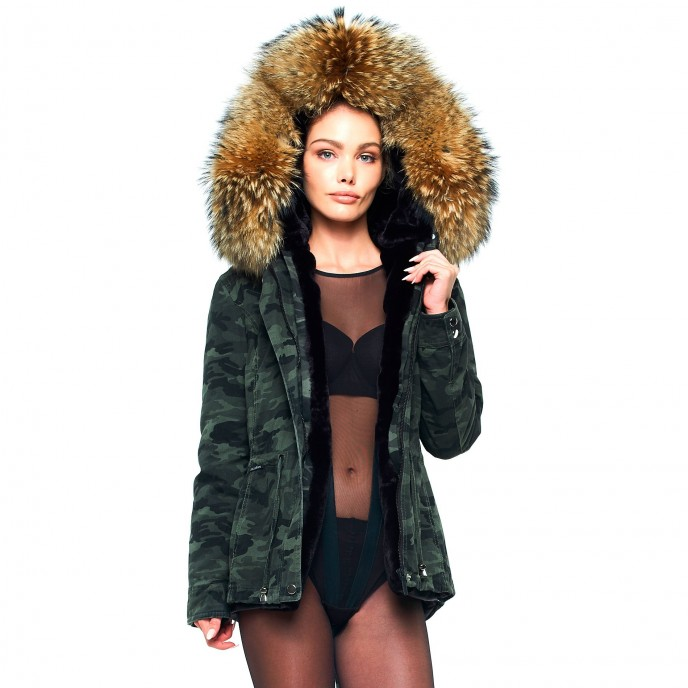 Camouflage Parka mit Fell 2