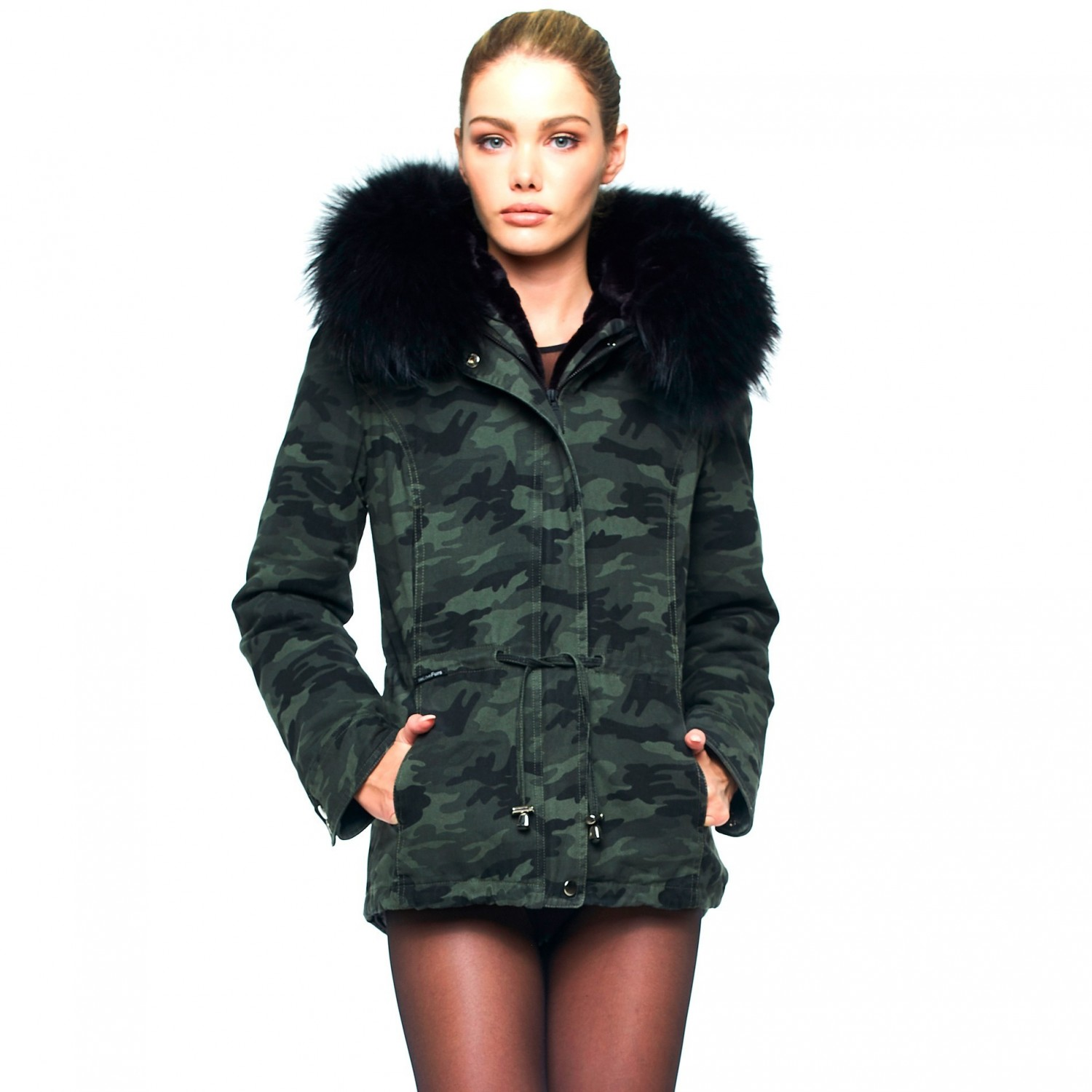 Camouflage Parka with Fur Collar 23