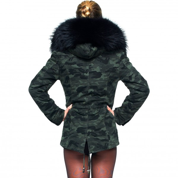 Camouflage Parka mit Fell 44