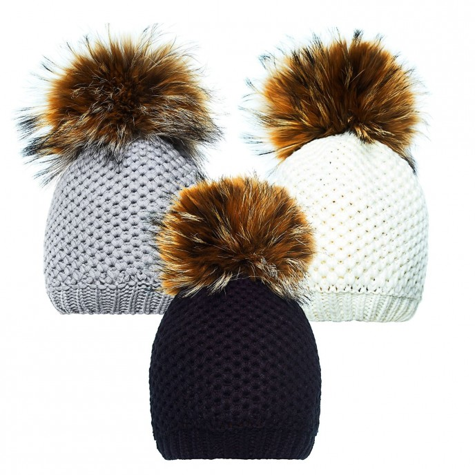 Pom Pom Hat with Fur