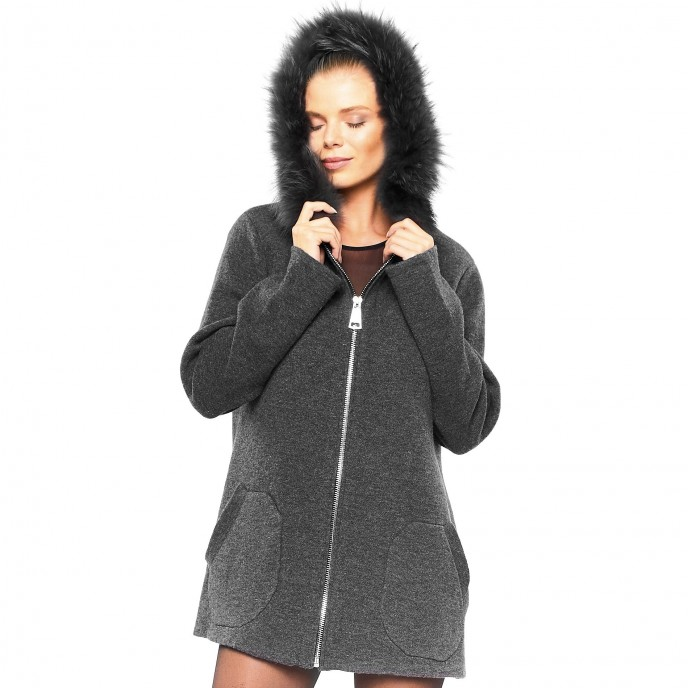 Woman Cardigan with Real fur grey Vest