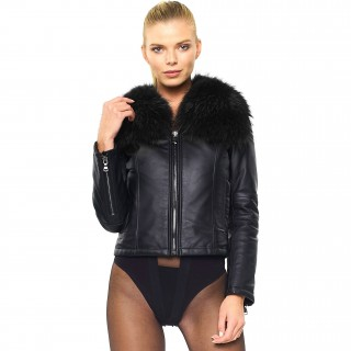 Leather Jacket with Fur