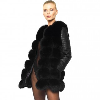 Black Fur Jacket with leather sleeves