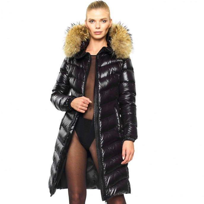Realfur Ladies Downcoat Pufferjacket Black Wintercoat Winterjacket Woman