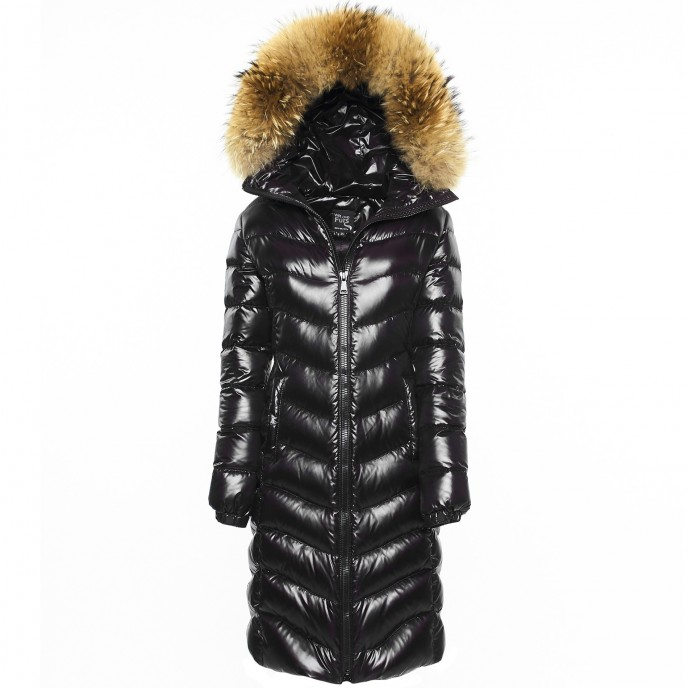 Realfur shiny Woman Black Downcoat Puffercoat Black Wintercoat Winterjacket Woman