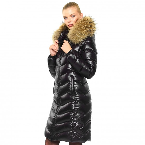 Woman Realfur Downjacket Pufferjacket Black Wintercoat Winterjacket Woman