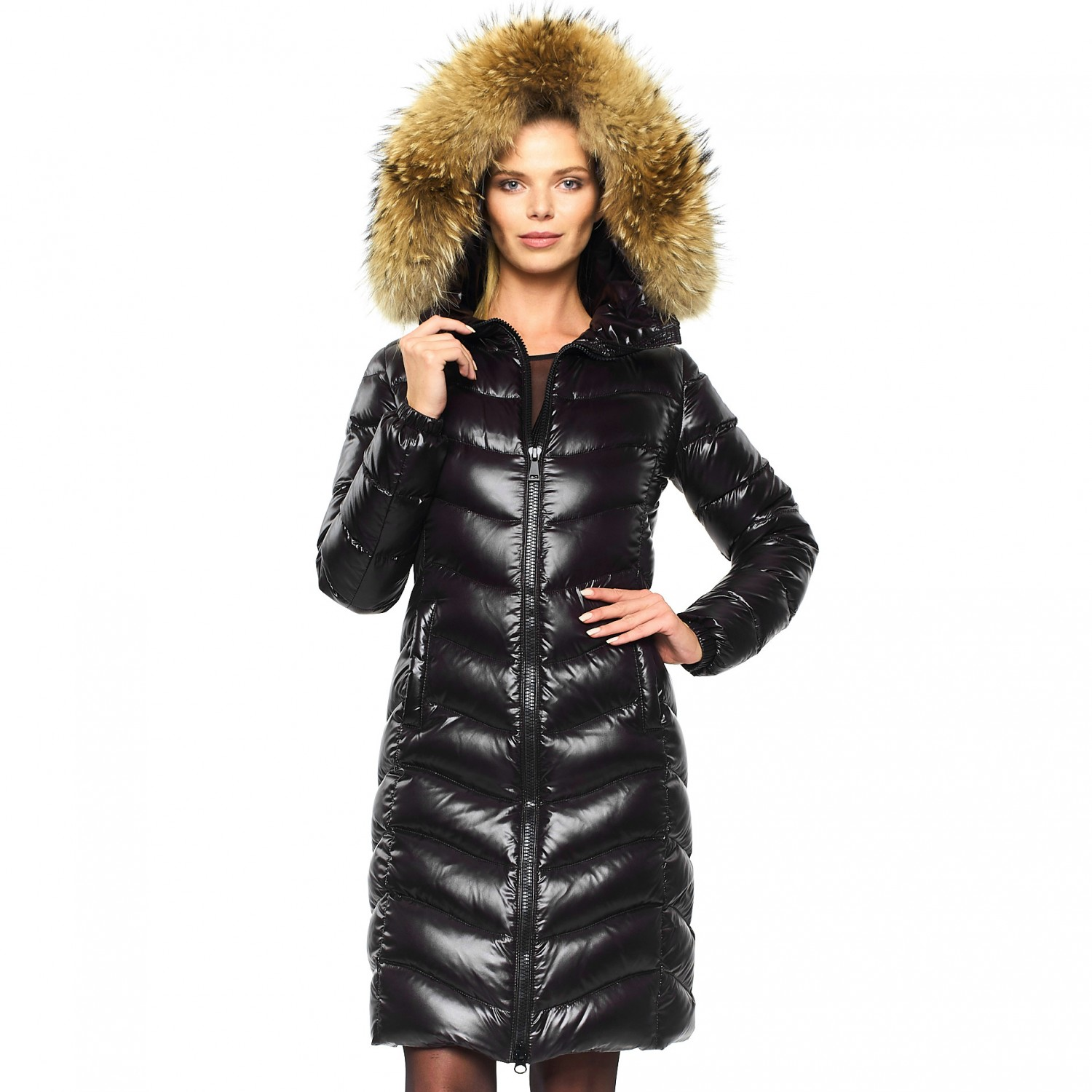 "Long Puffer with Fur Hood ""IceBlack"""
