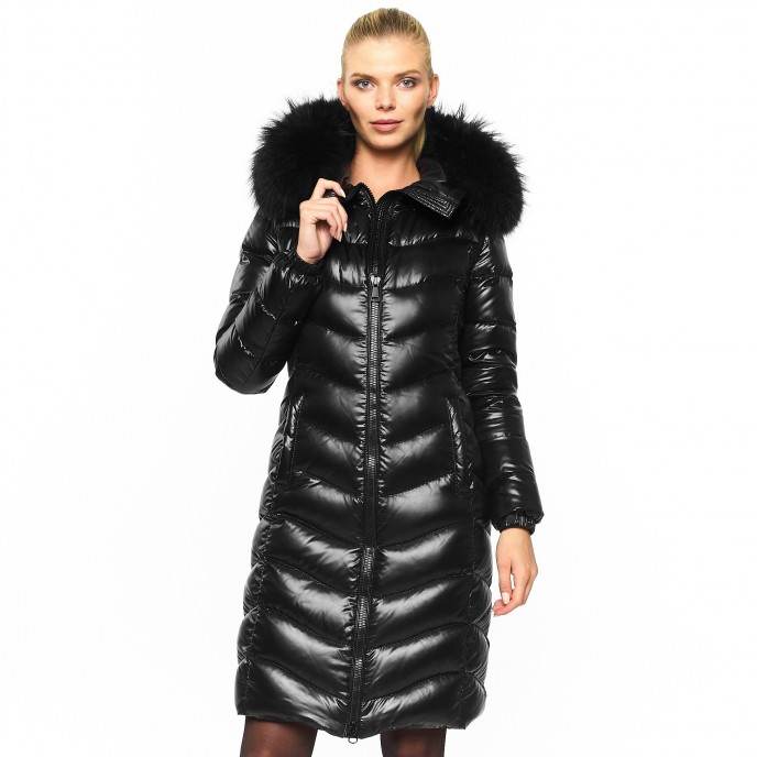 Realfur Downcoat Pufferjacket Black Wintercoat Winterjacket Woman