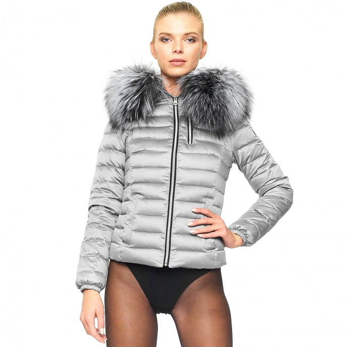 Woman Realfur Downjacket Downcoat Winterjacket  silver