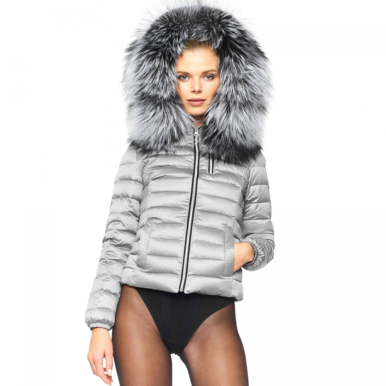 "Down jacket with fur hood ""Majestic Silver"""