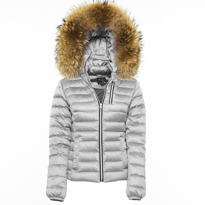 Puffercoat Realfur Downjacket Downcoat Winterjacket silver gold