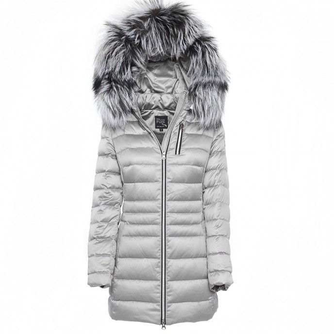 Fur Ladies Downjacket slim Winterjacket silver Realfur