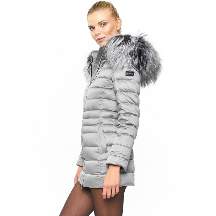 Woman Fur downjacket winterjacket silver metallic shiny woman