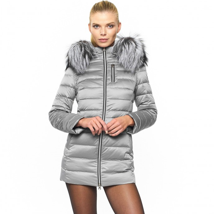 Fur downjacket winterjacket silver metallic shiny woman