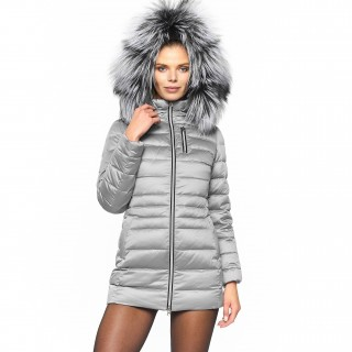Long fur hooded down jacket