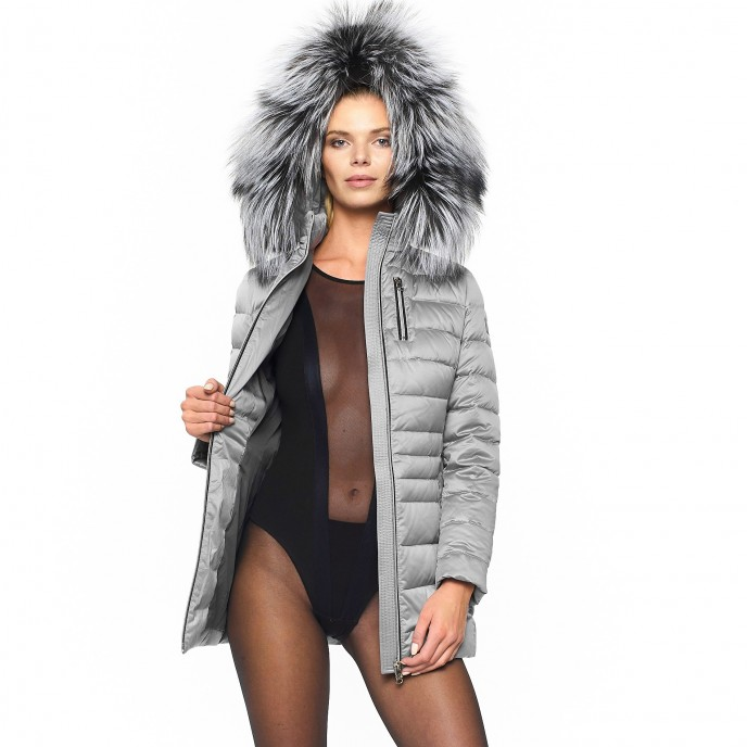 Woman Wintercoat Downcoat silver gold Realfur