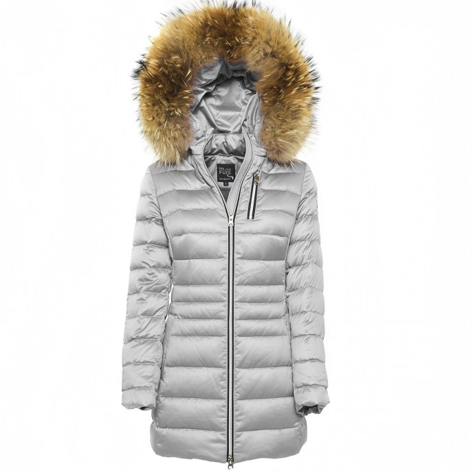 Realfur jacket woman Ladies Winterjacket Wintercoat silver