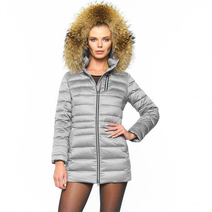 Silver gold Long fur hooded down jacket Winterjacket