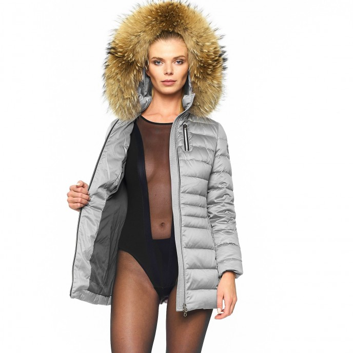 Woman Ladies Fur downjacket winterjacket silver metallic shiny woman