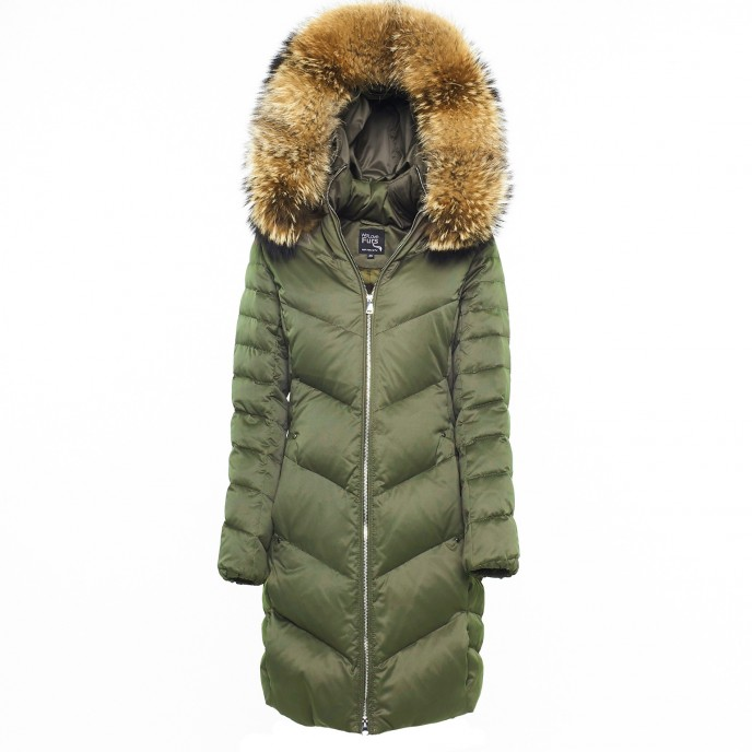 Woman Puffer Coat with Real Fur Green warm