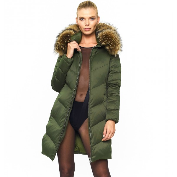 Woman Puffer Jacket with Real Furhood