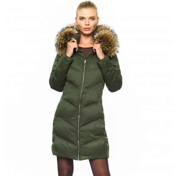 Green Woman Puffer Coat with Real Fur Armystyle