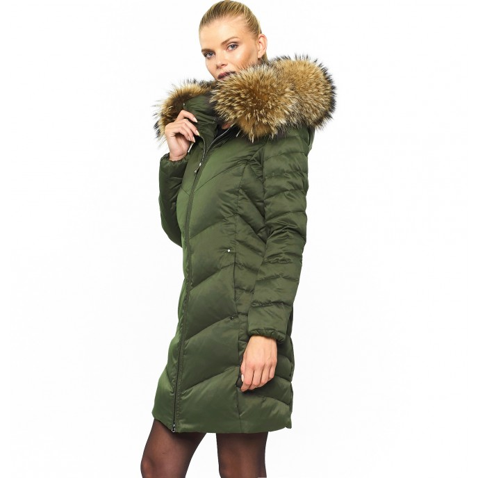Woman Puffer Coat with Real Fur Hood