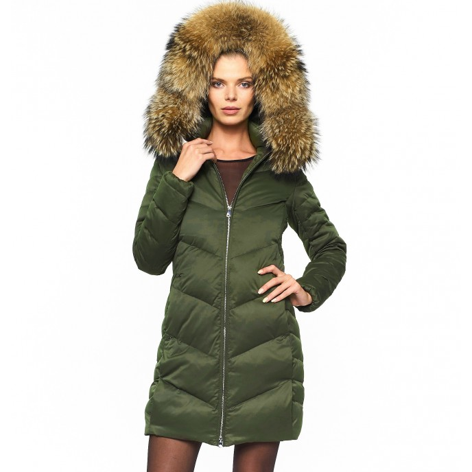 Woman Puffer Coat with Real Fur