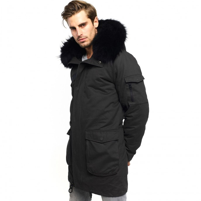 0ba44e0e45a9 Mens Real Fur Parka with black fur collar