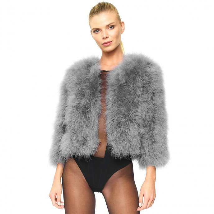 Fur jacket in grey