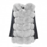 Woman Real Fur Jacket with leather Wintercoat