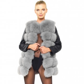 Real Fur Jacket with leather sleeves