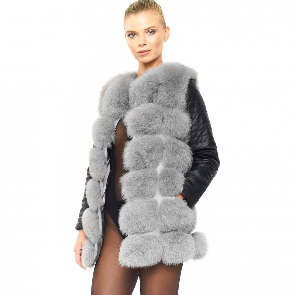 Woman Real Fur Coat with leather sleeves