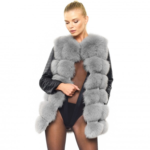 Biker Jacket Real Fur Jacket with leather sleeves grey