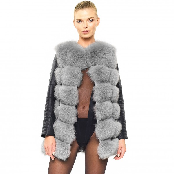 Woman leather jacket winter fur grey