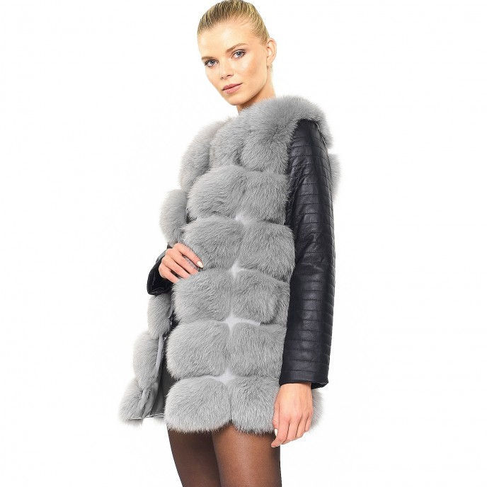 Winterjacket Real Fur Jacket with leather sleeves