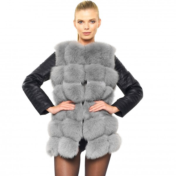 Real Fur Jacket with leather wintercoat