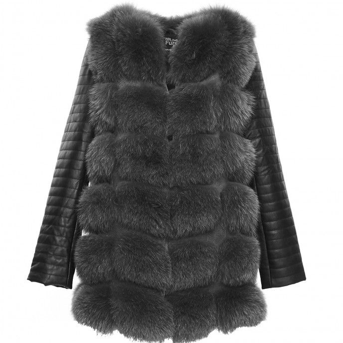 Real Fur Jacket woman grey black wintercoat winterjacket